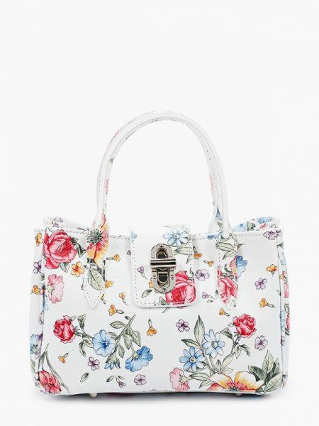 Белая кожаная сумка из натуральной кожи Roberto Buono