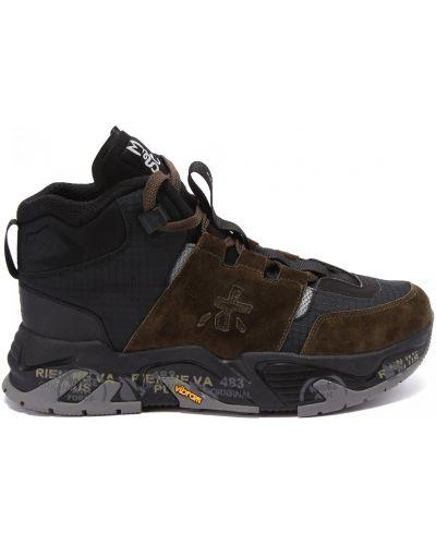 Комбинированные кожаные кроссовки на шнуровке Premiata
