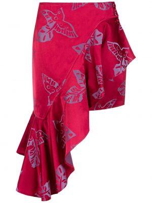 Розовая асимметричная юбка жаккардовая Martha Medeiros