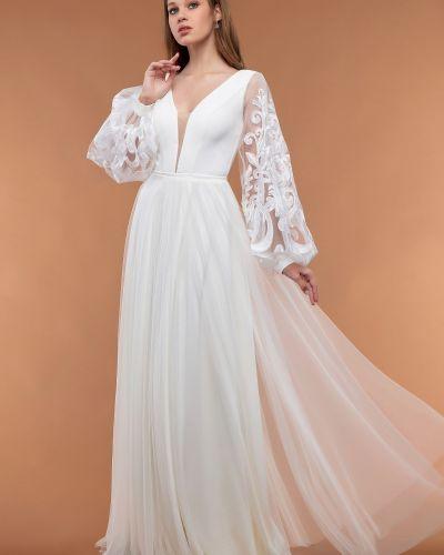 Белое вечернее платье с длинными рукавами из фатина Rozetka