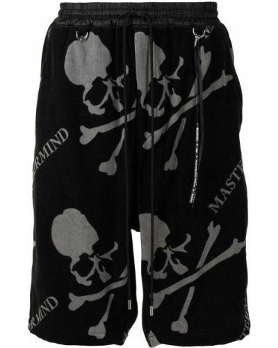 Czarne szorty z wysokim stanem bawełniane Mastermind World