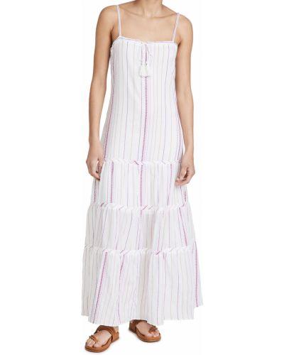 Текстильное платье макси в полоску с нашивками Vix Swimwear