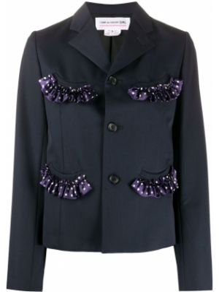 Шерстяной синий пиджак с карманами Comme Des Garçons Girl