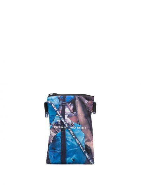 Niebieska torebka mini srebrna z printem Perks And Mini