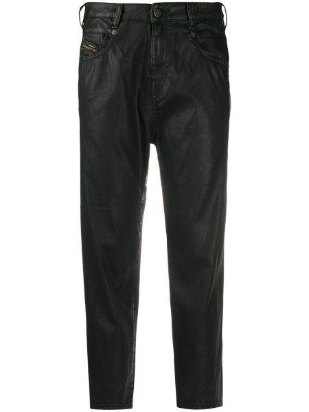 С завышенной талией черные укороченные джинсы с карманами Diesel