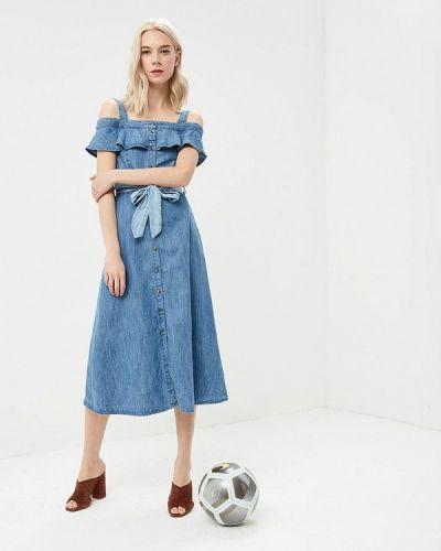 Джинсовое платье с открытыми плечами весеннее Warehouse