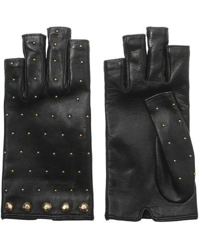 Кожаные черные перчатки с заклепками Gucci