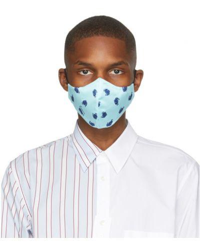 Jedwab czarny maska do twarzy prążkowany Lanvin