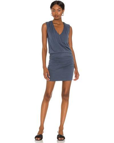 Niebieska sukienka w kształcie litery A srebrna Monrow