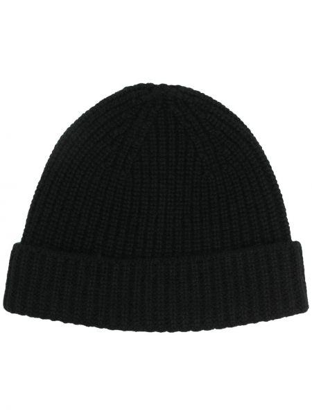 Z kaszmiru prążkowany czarny czapka beanie Cruciani