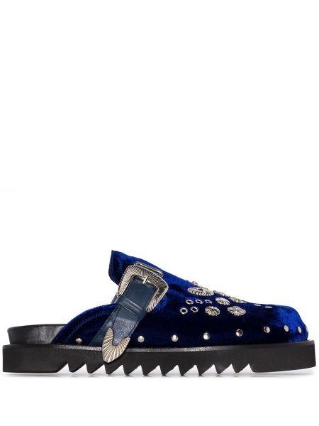 Синее кожаное сабо с декоративной отделкой с заклепками Toga Virilis