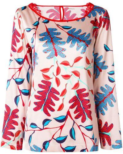 Бежевая блузка с цветочным принтом Marc Cain