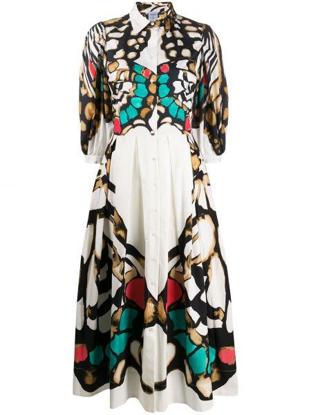 Классическое платье на пуговицах с воротником с рисунком Sara Roka
