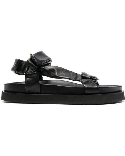 Sandały skórzane - czarne Jil Sander