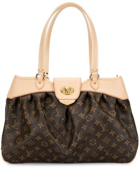 Коричневая кожаная сумка с ручками на молнии Louis Vuitton