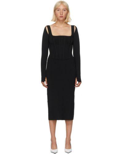 С рукавами черное платье-свитер с воротником Dion Lee