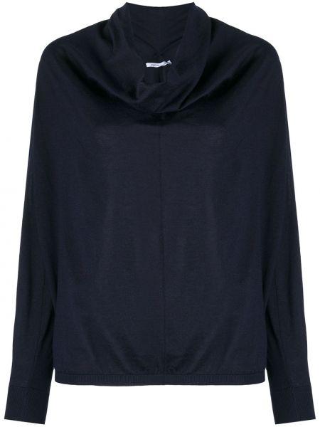 С рукавами темно-синий шелковый пуловер с манжетами Agnona