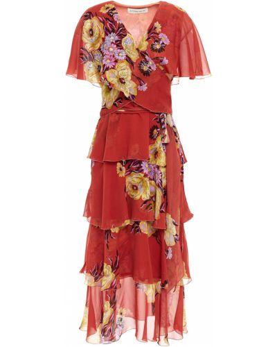 Оранжевое шифоновое платье миди с пайетками Etro