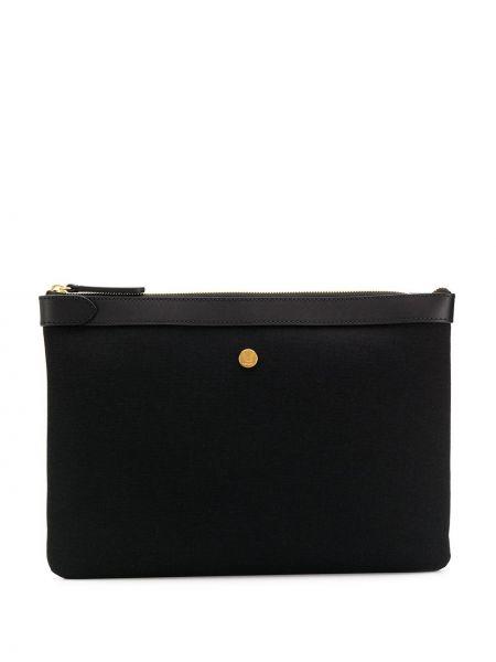 Парусиновая черная кожаная сумка с пряжкой Mismo