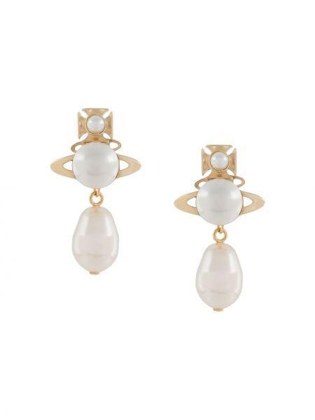 Złote kolczyki sztyfty perły Vivienne Westwood