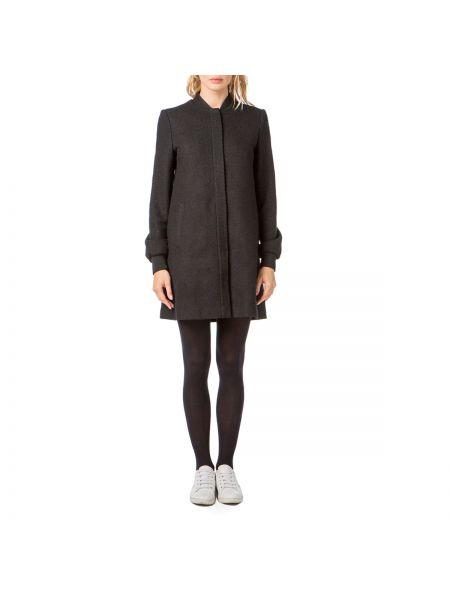 Черное шерстяное пальто с воротником на молнии Best Mountain
