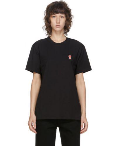 С рукавами черная рубашка с коротким рукавом с воротником с вышивкой Ami Alexandre Mattiussi