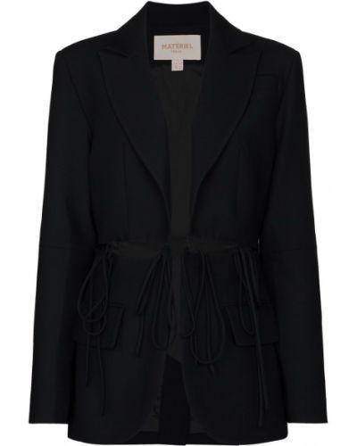 Шерстяной черный удлиненный пиджак с лацканами Matériel