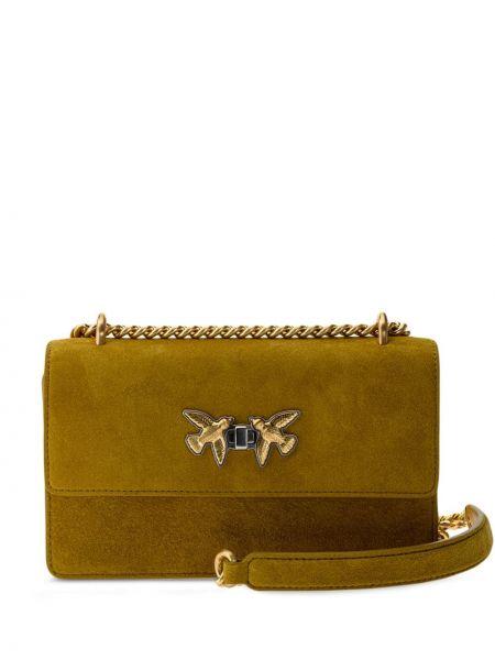 Зеленая с ремешком кожаная сумка через плечо Pinko