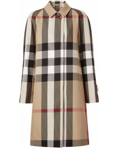 С рукавами длинное пальто в клетку винтажное Burberry