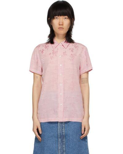С рукавами розовая рубашка с воротником из вискозы Raquel Allegra