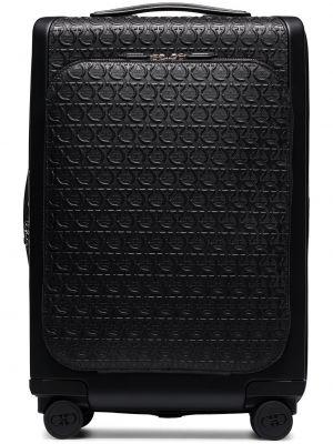Czarna walizka skórzana Salvatore Ferragamo