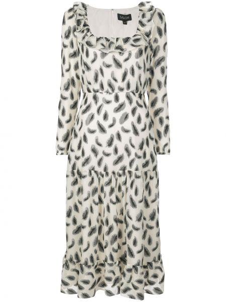 Шелковое платье макси с рисунком на молнии с вырезом Saloni