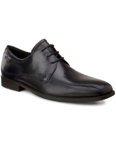 Туфли с перфорацией черные кожаные Ecco