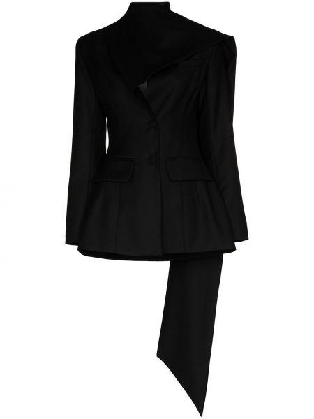 Шерстяной черный пиджак с карманами на пуговицах Matériel