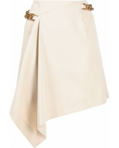 Beżowa spódnica mini asymetryczna bawełniana Givenchy