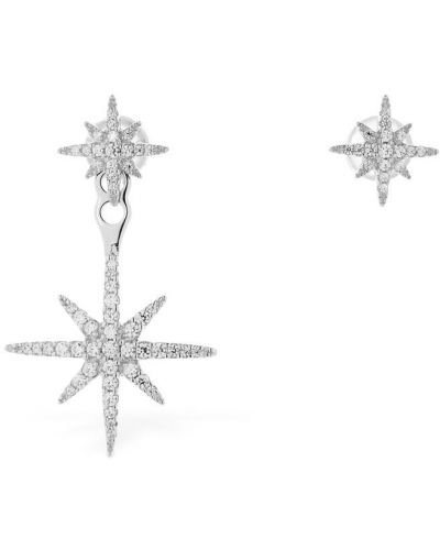 Kolczyki sztyfty z cyrkoniami srebrne asymetryczne Apm Monaco