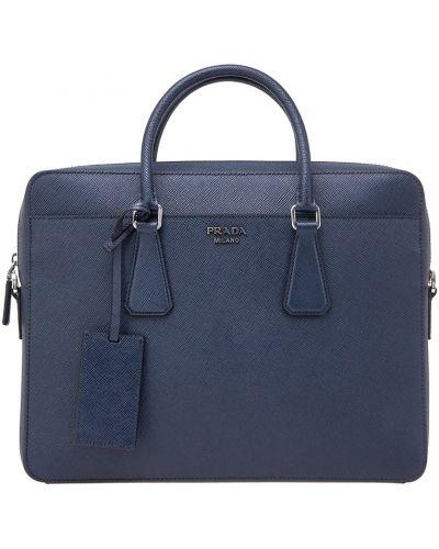 Кожаная сумка деловая с логотипом Prada