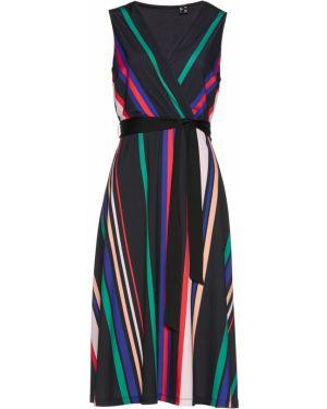 Платье с поясом черное Bonprix