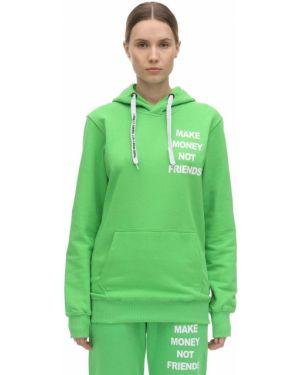 Zielona bluza z kapturem bawełniana Make Money Not Friends