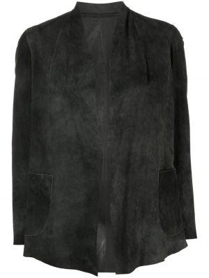 Черный кожаный пиджак с V-образным вырезом Salvatore Santoro