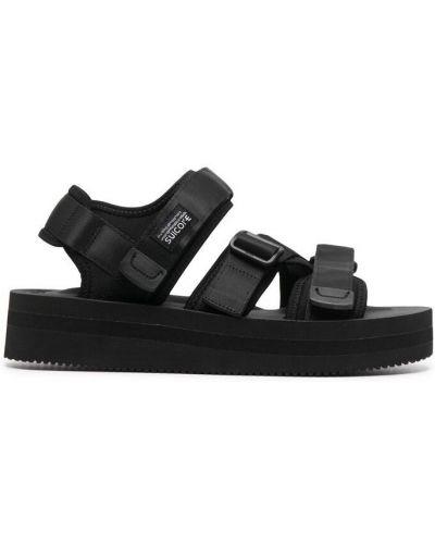 Czarne sandały skorzane peep toe Suicoke