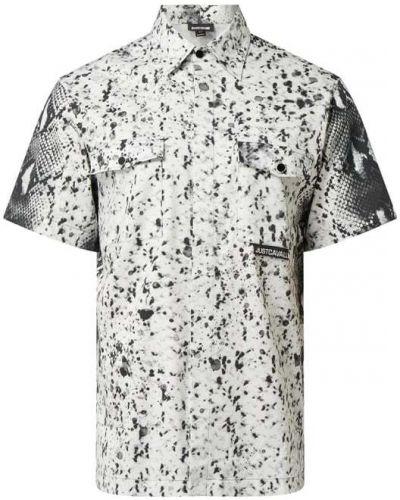 Biała koszula krótki rękaw bawełniana Just Cavalli