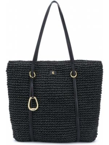 Хлопковая черная соломенная сумка-тоут круглая Lauren Ralph Lauren