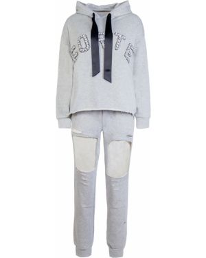 Хлопковый серый спортивный костюм с поясом Forte Couture