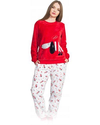 Czerwona piżama z długimi rękawami Vienetta