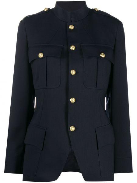 Приталенная синяя нейлоновая длинная куртка с воротником Ralph Lauren
