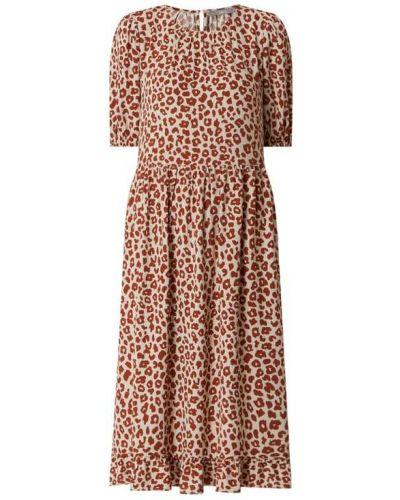 Beżowa sukienka mini rozkloszowana z falbanami Jake*s Collection