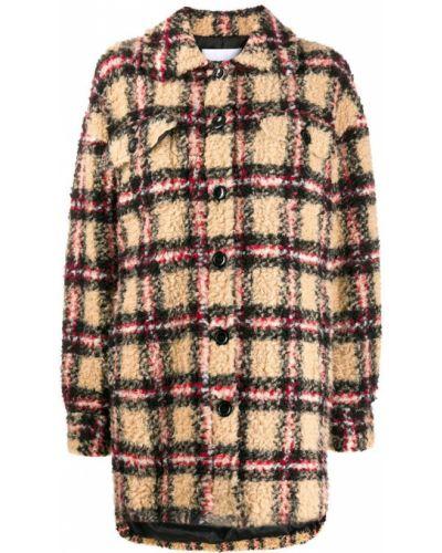 Бежевое пальто классическое с воротником на пуговицах Stand