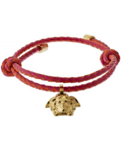 Кожаный браслет - золотой Versace