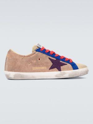 Złoty fioletowy włókienniczy sneakersy z ozdobnym wykończeniem Golden Goose